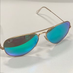 Gold Ray Ban Aviators with Green Flash Lenses